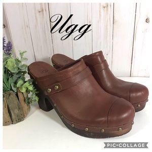 Ugg Jolene heel brown leather 9